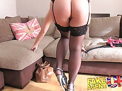 FakeAgentUK creampie be advantageous to sexy blonde MILF in grown up doff expel
