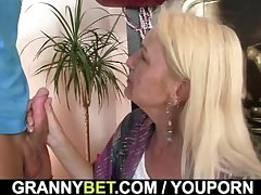Blonde granny sucks and rides his meaty dick