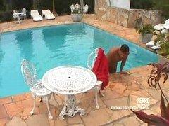Shemale fucks guy at the pool