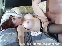 Bald man fucks big breasted redhead