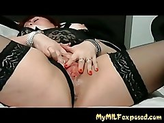 MY MILF Unclothed - BBW mature helter-skelter stocking with vibrator