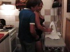 Chubby one has hot fun in kitchen