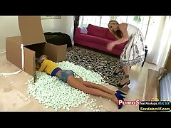 Puma Swede surrounding Girl on Girl Strapon Fun
