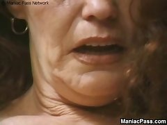 Longhaired granny enjoys making love