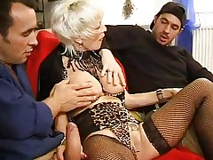 FRENCH Grown-up 27 anal pretty good mama milf with 2 younger men