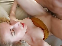 Tall mature blonde has sex here bf in the living room