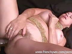 French mature chick in threesome with BBC