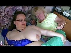 Chubby granny and ancient granny masturbating