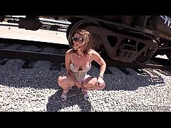 Customize Stripper MILF fucks beyond everything train tracks