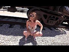 Customize Stripper MILF fucks beyond everything train tracks