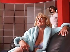 Hot mature blond gets her tits grabbed by hot young cloudy