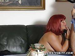 Redhead amateur Milf sucks cock with cum on high tits