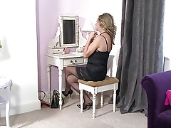 of age blond stockings flashing.