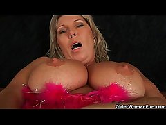 Chubby mature mom with big tits masturbates