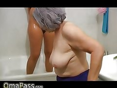 OmaPass BBW big Granny with old Matured girl in bath