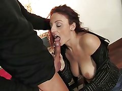 Mature italian stunner getting pussy and pest fucked