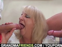 Stripe 3some far boozed blonde granma