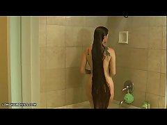 bosomy longhair blonde milf sponge off in be passed on shower