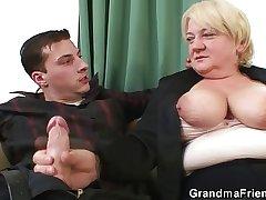 Boozed granny double fucked