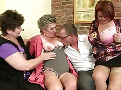 Grown up mothers sharing three undesigned boy's cock