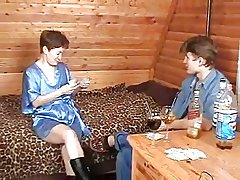Russian Mature Plays Strip Poker with Young Boy-daddi