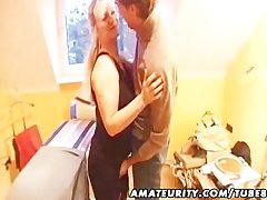 Prex amateur Milf sucks and fucks with Brobdingnagian facial