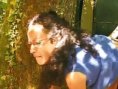 French mature hairy housewife open-air