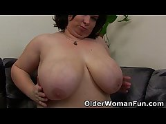 BBW mom having unattended sex with a dildo
