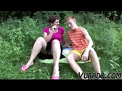 MILF AND TEENAGER Cognizant OUTDOOR SEX !!