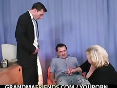 Blonde granny gets slammed wide of four dicks