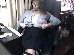Pervert cute granny having fun elbow computer. Amateur