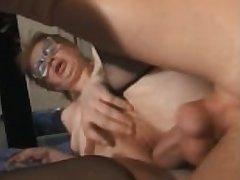 granny progenitrix fucked by young guy impoverish anal