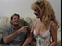 Sexy grown up mart in underthings gets fucked on a couch