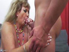Hot shine undressing and banging a grandma